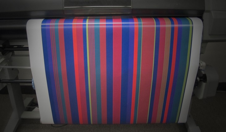 The finalized striped pattern is printed at HMR Designs.