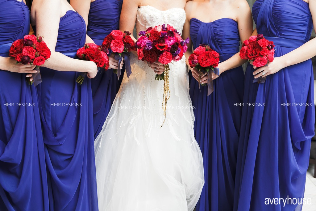 Rich, bold winter bouquets and dresses. Floral by HMR Designs