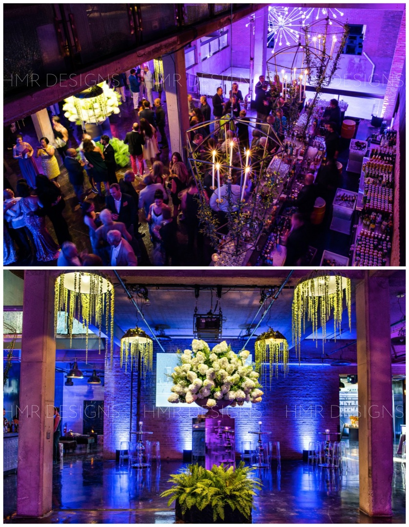Above: guests enjoy cocktail hour at in a wonderfully illuminated Morgan MFG celebration. Photos courtesy of Kent Drake Photography
