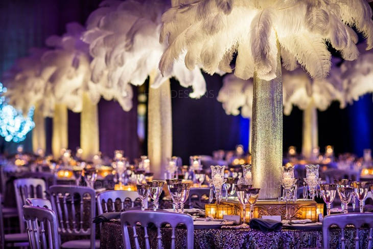 Feather-centerpieces-for-a-holiday-party-at-union-station-chicago