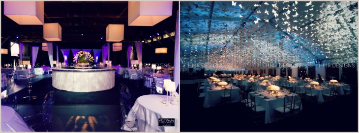 A chic corporate affair featuring white box shades and a stunning gala featuring hundreds of hand strung butterflies.
