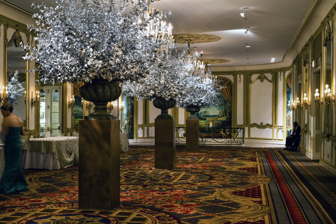 Bursts of hand painted silver camelia  for the Lyric Opera Diamond Ball by HMR Designs
