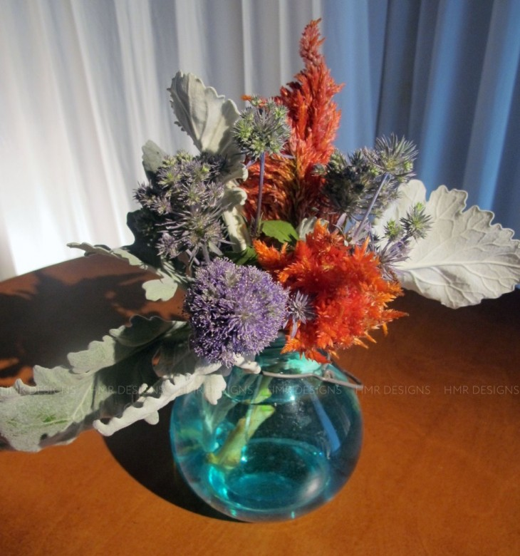 Bright as a feather: orange feather celosia brings texture and color.