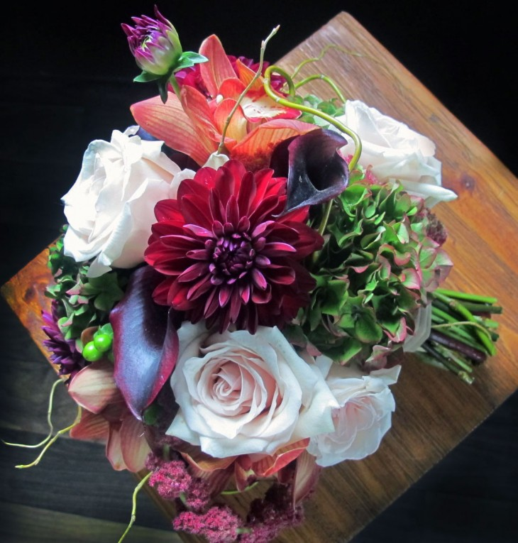 Dahlias find their place naturally in an eclectic bouquet.