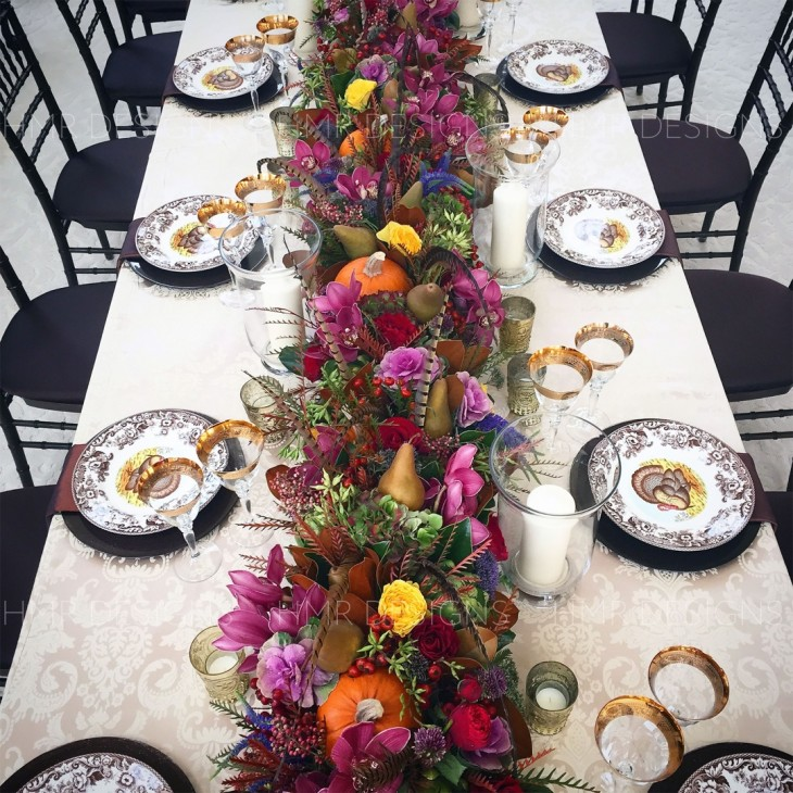 Fall flower table setting and centerpiece