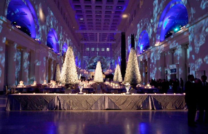 Gold trees and diamond projections for a luxury corporate event at the Field Museum by HMR Designs