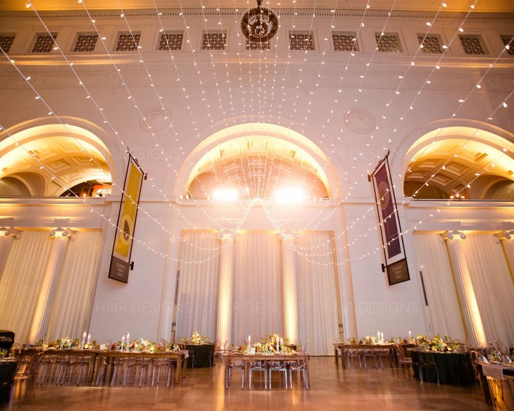 Unique wedding lighting by HMR Designs at the Field Museum