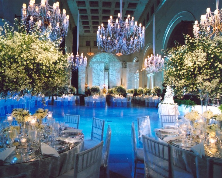 Blue and white floral, decor, and lighting for a stunning wedding by HMR Designs at the Field Museum