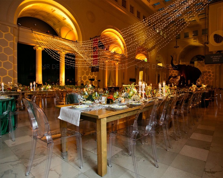 Original wedding floral, decor and lighting by HMR Designs at the Field Museum
