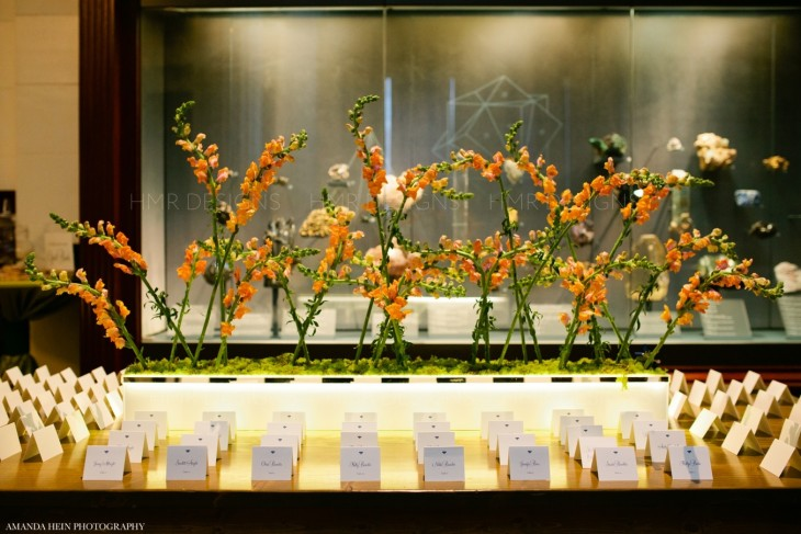 Escort card table design by HMR Designs Floral and Decor for weddings