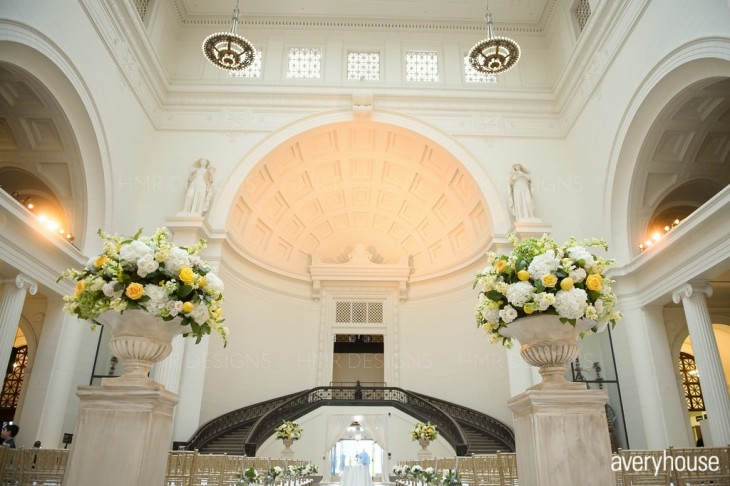 A yellow summer wedding at the Field Museum buy HMR Designs and LK Events