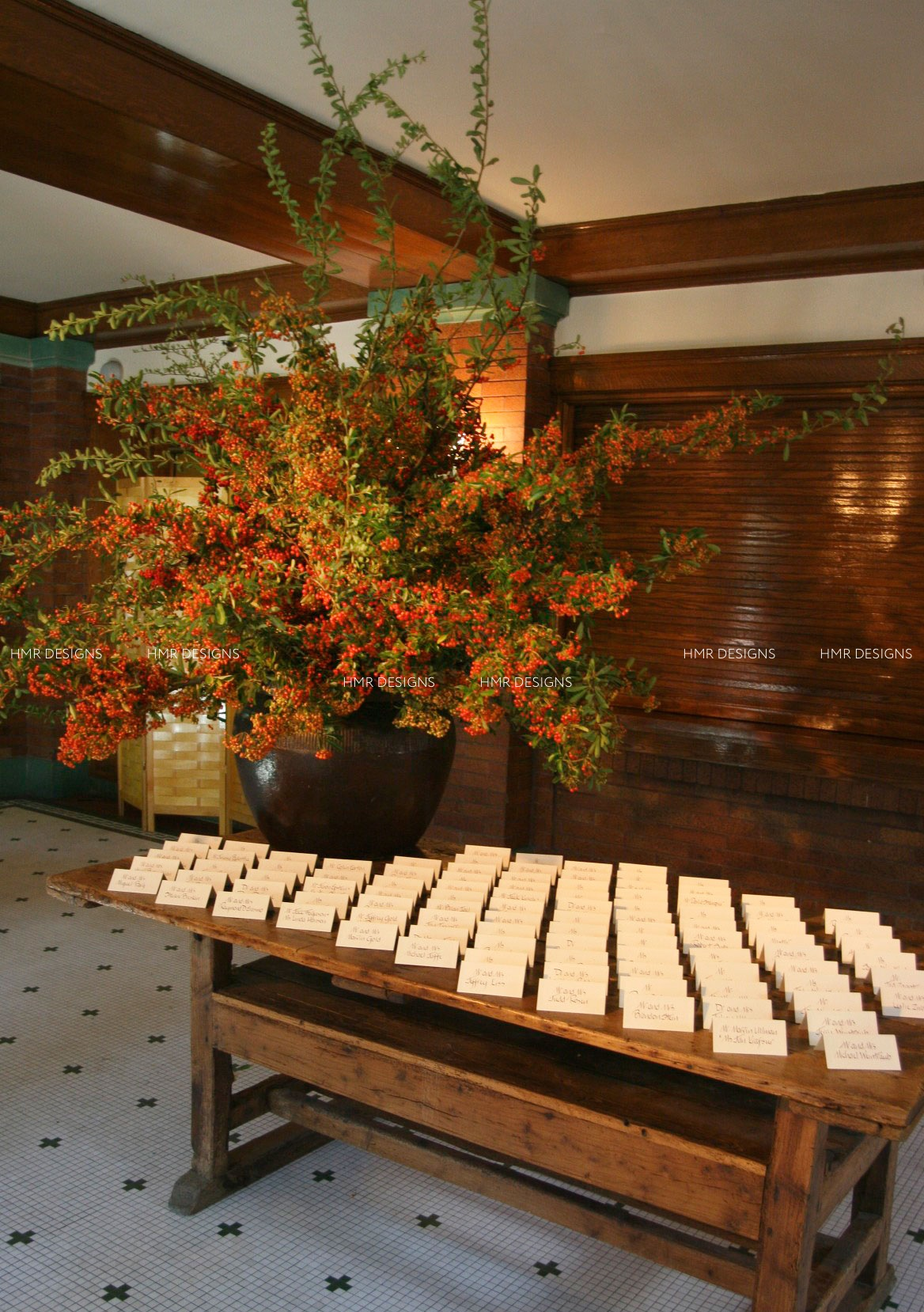 Ilex berries and place cards. HMR Designs