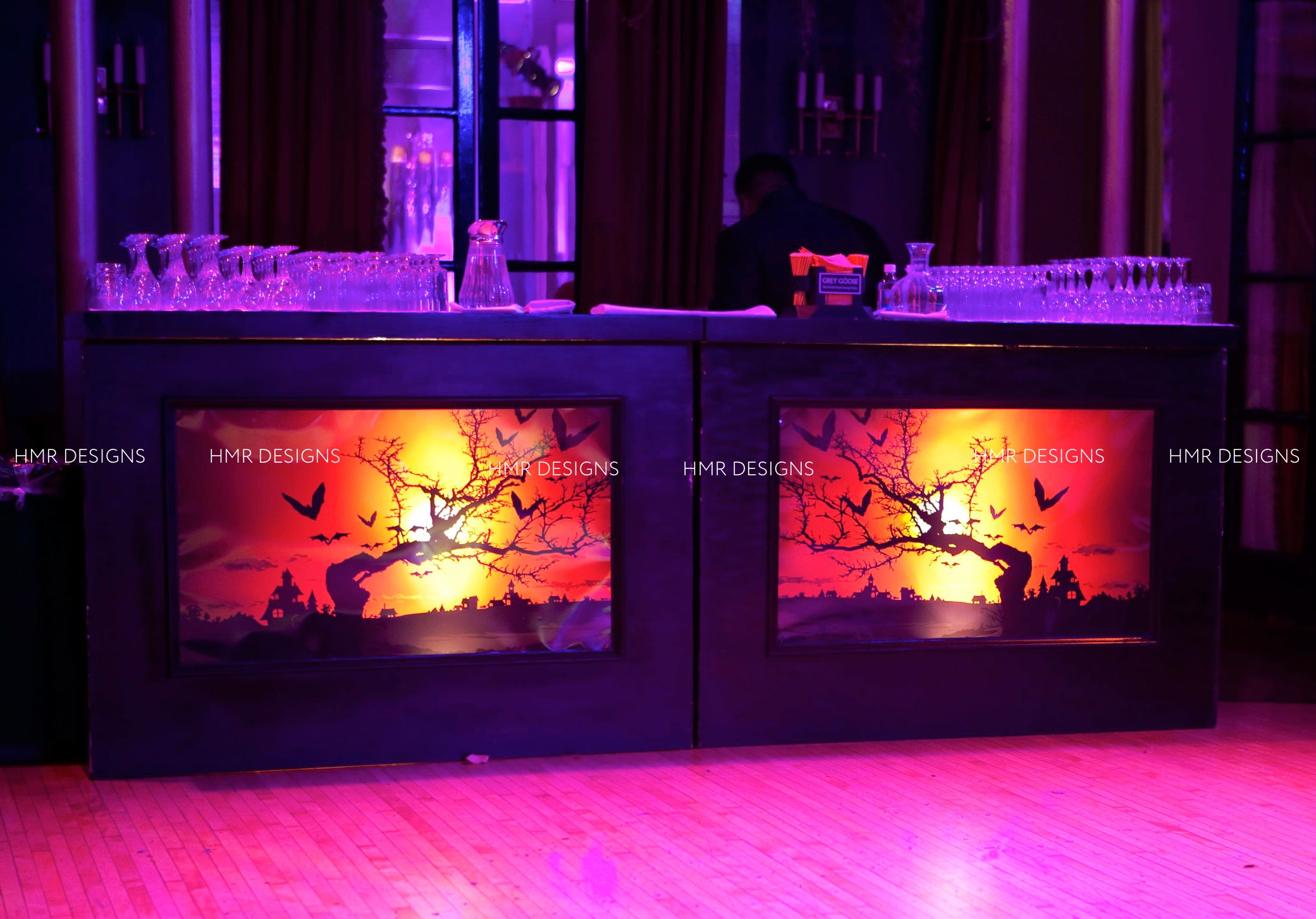Custom Halloween graphics by HMR Designs at Casino Club Chicago