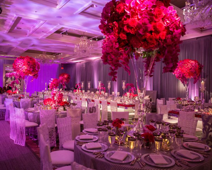 large pink centerpieces at wedding by HMR designs