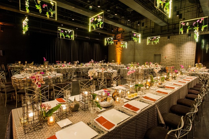 Orchids-and-metal-frames-are-above-and-below-at-a-gala-by-HMR-Designs