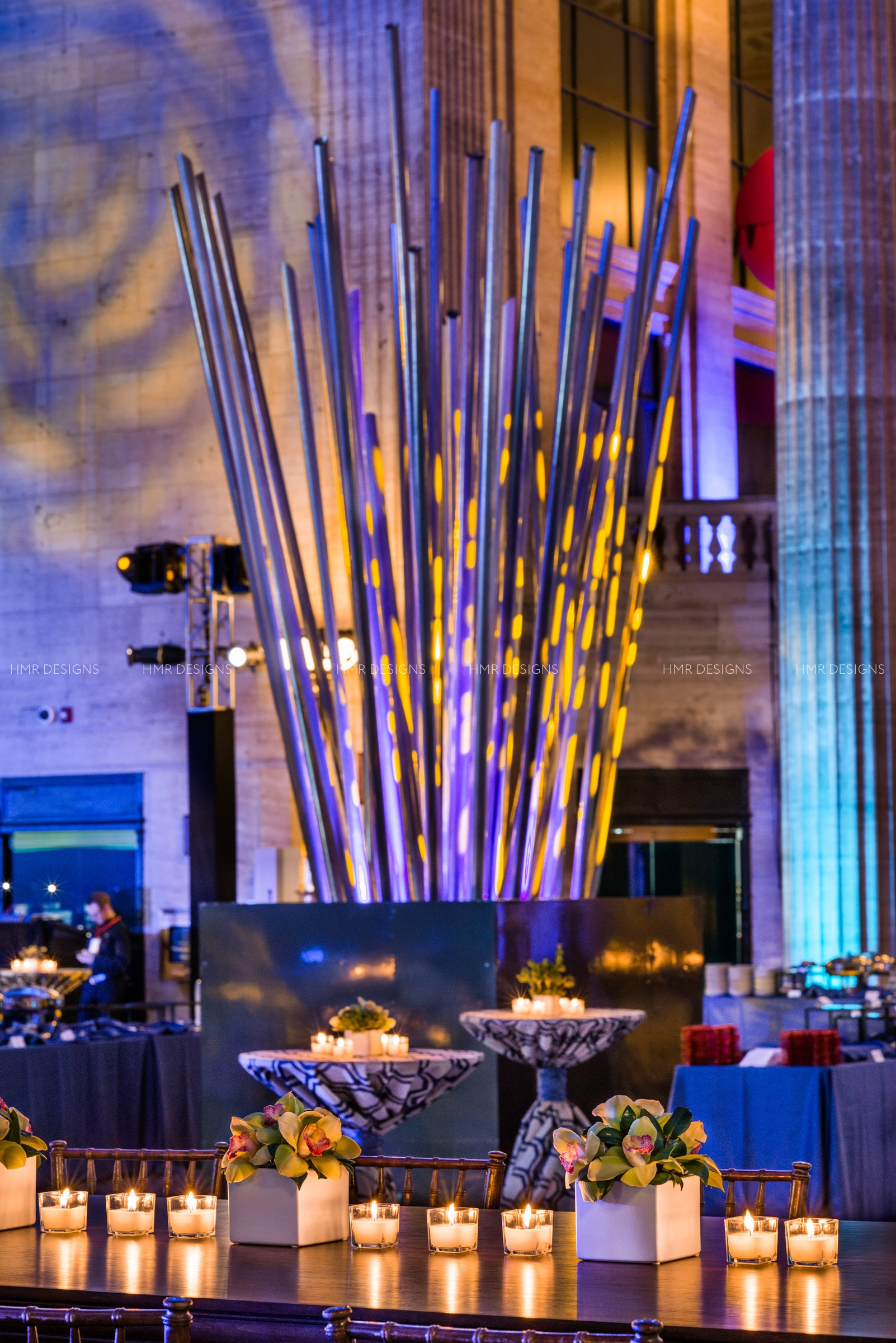Innovative focals using metal pipes designed by HMR Designs light up Union Station