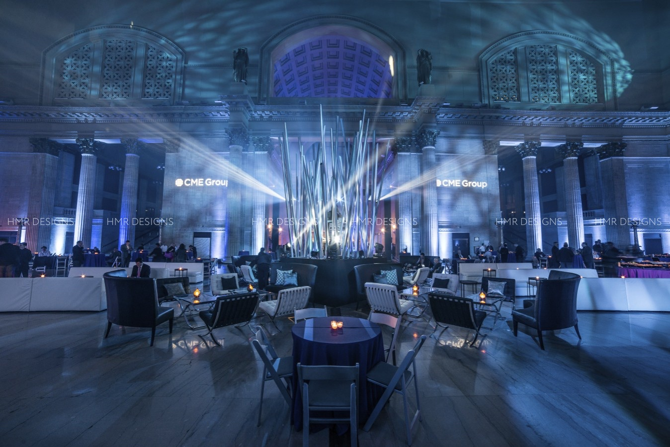Stunning corporate event decor at Union Station Chicago by HMR Designs