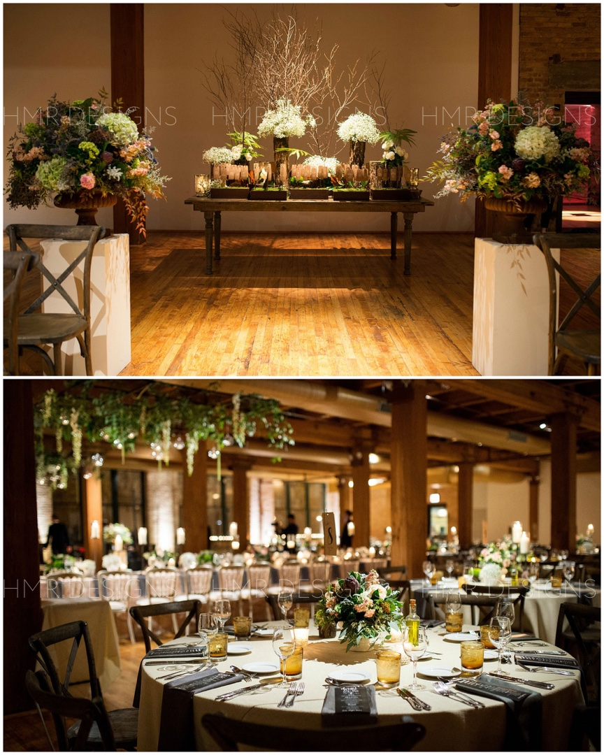 Blush, greens, and rustic wood decor for a wedding at Bridgeport Arts Center by HMR Designs