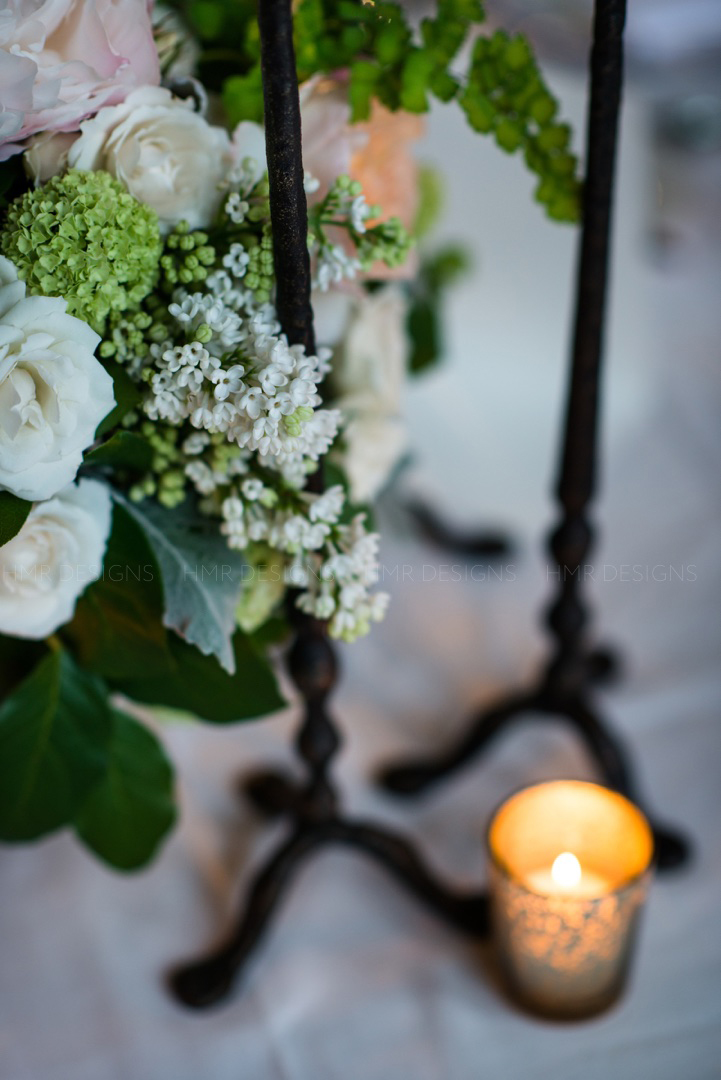 Spring floral including peonies, lilac and viburnum at a wedding at Cafe Brauer.