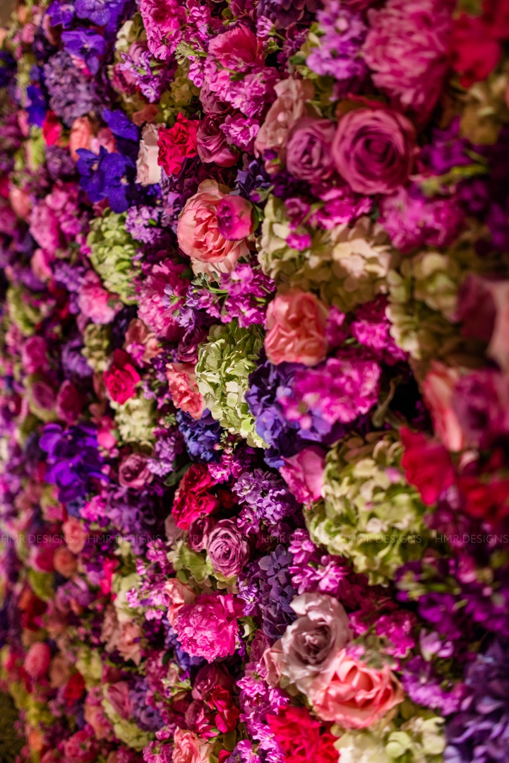 A plethora of floral for a focal wall at the Four Seasons. Kent Drake Photography