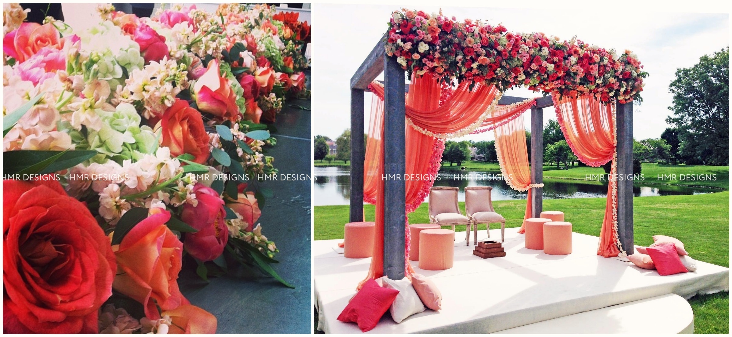 Stunning floral adorns a canopy at an outdoor wedding designed by HMR Designs