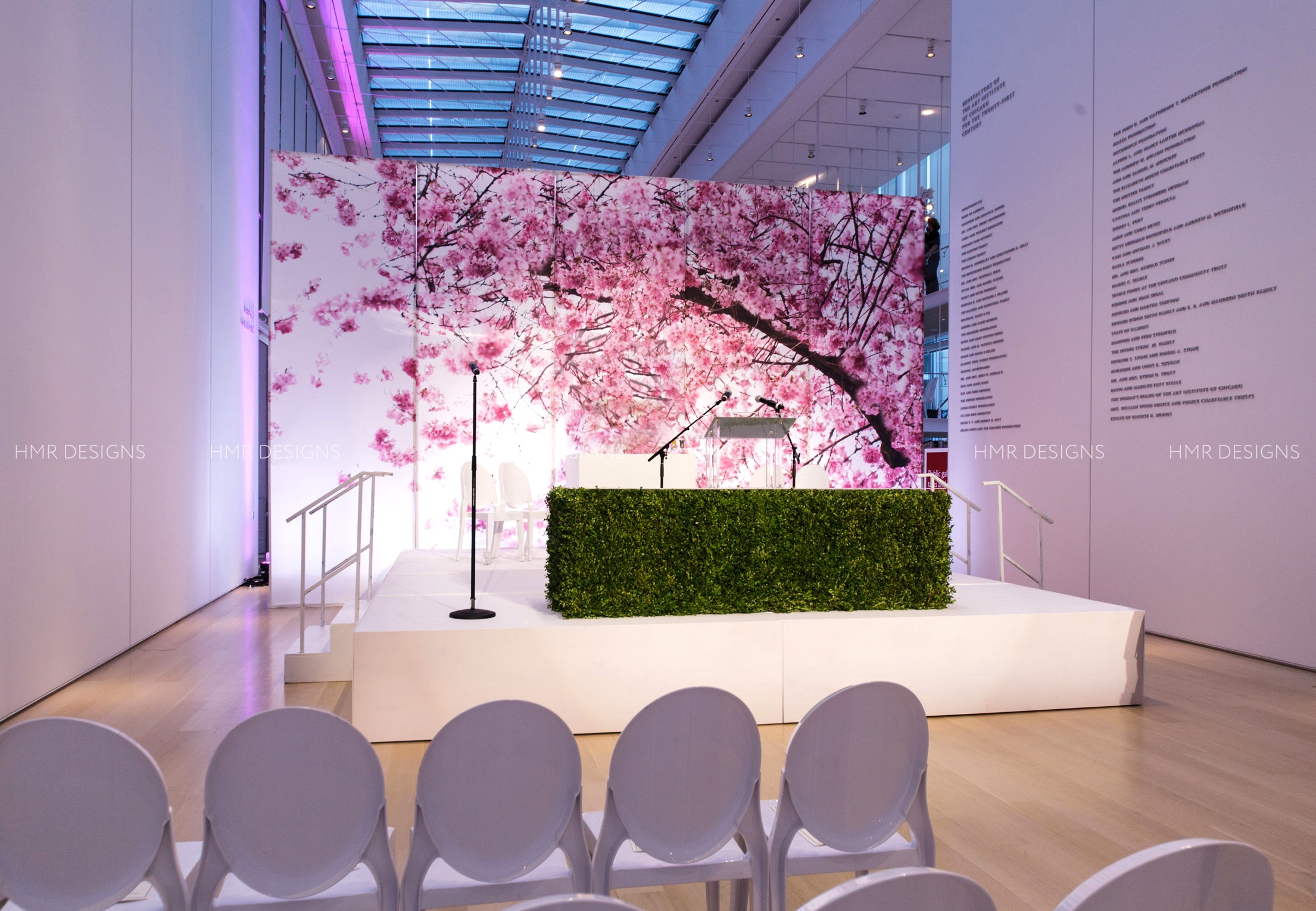Gigantic Cherry Blossoms on a printed backdrop for a summer-themed Bat Mitzvah by HMR Designs