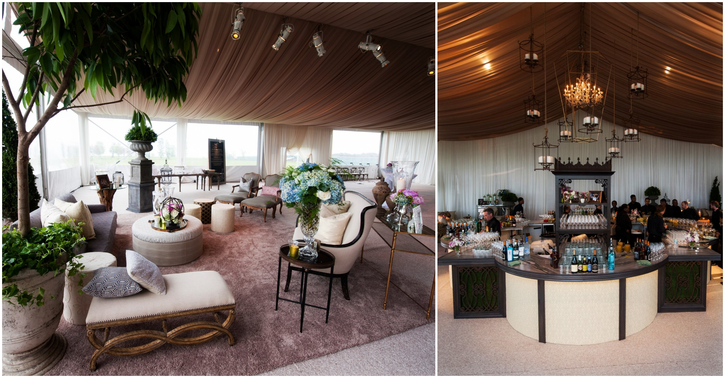 Luxury outdoor wedding decor in Chicago at Northerly Island Park