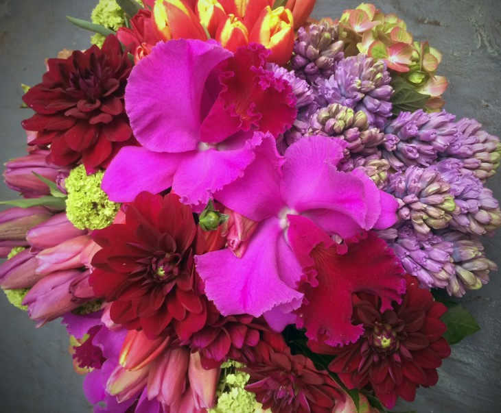 Dahlias easily pair with a plethora of flowers for a stunning gift arrangement.