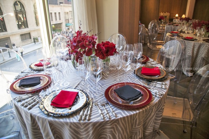Red, black, gold and grey Art Deco tabletop by HMR Designs
