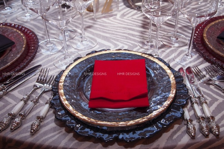 Red, black and gold place setting by Hall's, BBJ, and HMR Designs