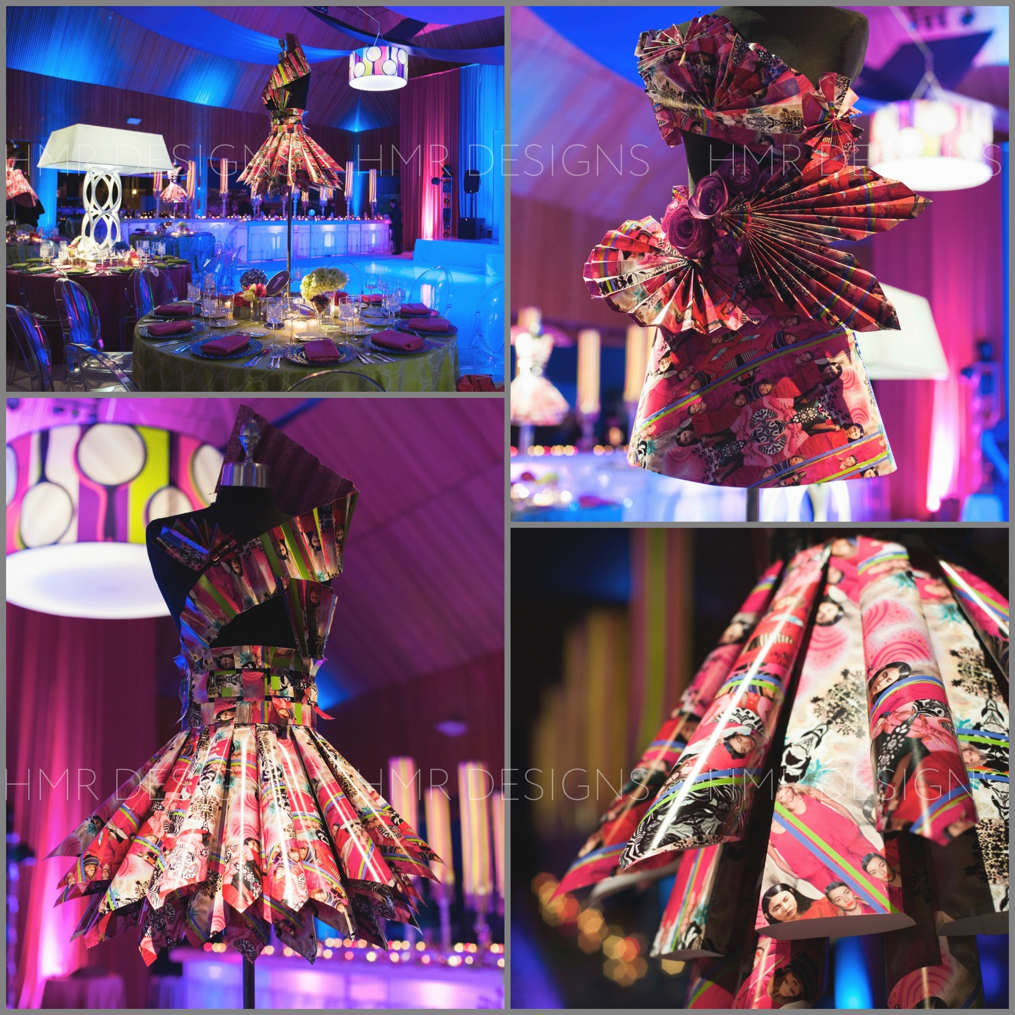 A fashion theme calls for centerpieces featuring bodices wearing dresses constructed entirely out of paper.