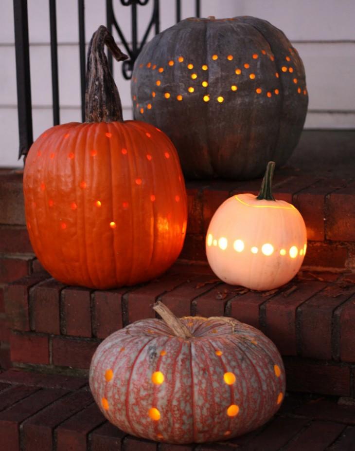Drilled pumpkin designs.