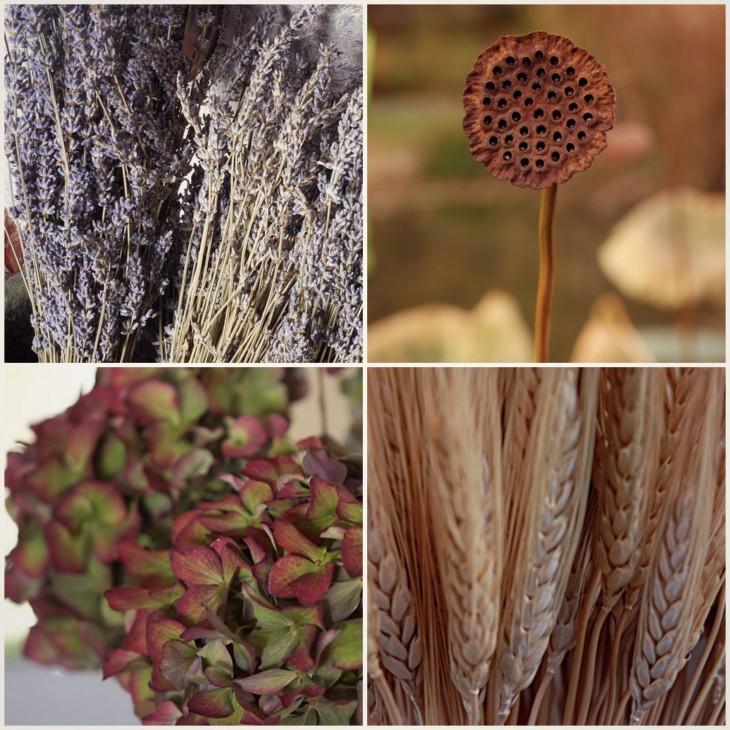 Dried seasonal offerings look great as tied bundles.