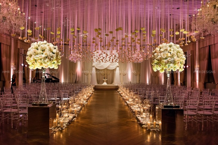 Suspended floral and a plethora of candlelight transformed the Standard Club.