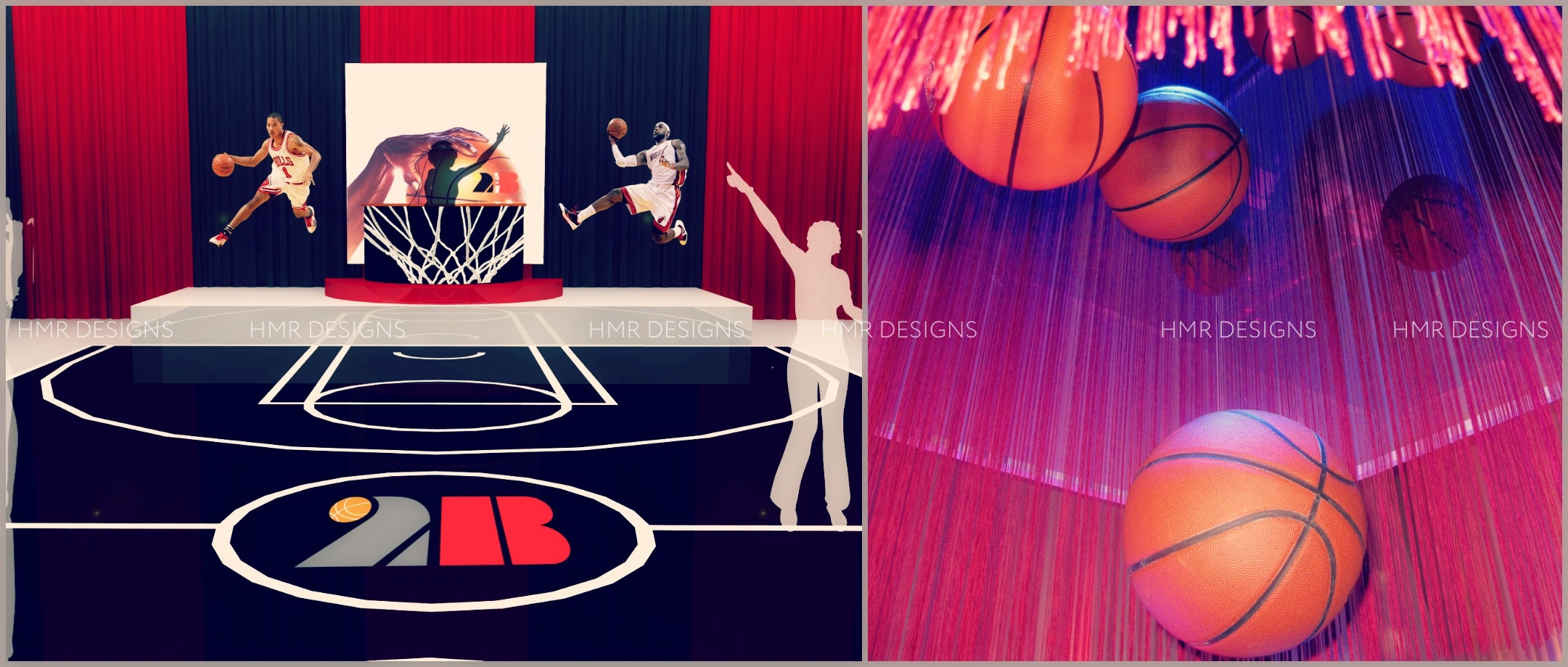 Designs for a basketball themed Bar Mitzvah by HMR Designs