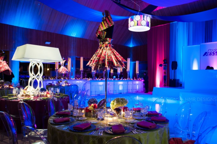 Paper, foam and custom tools aided the Art Team in the creation of these fashion-inspired centerpieces. Fandl Photography
