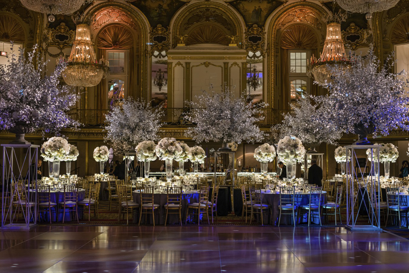 Stunning gold and silver centerpieces by HMR Designs for the Lyric Opera Diamond Ball