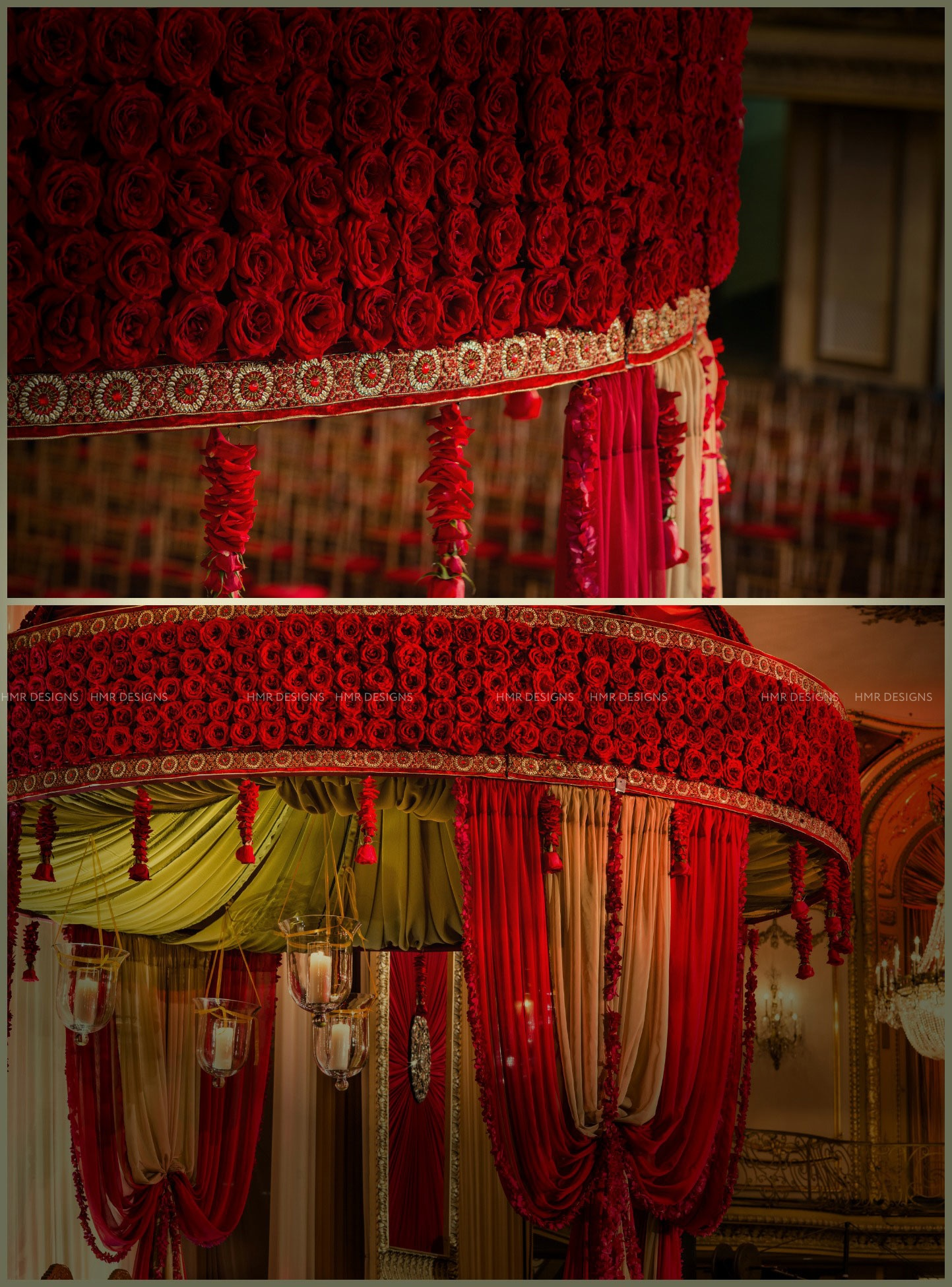 Floral canopy of red roses by HMR Designs