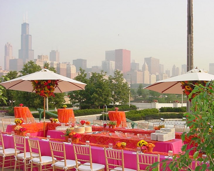 Outdoor terrace and view of Chicago at the Field Museum with decor by HMR Designs
